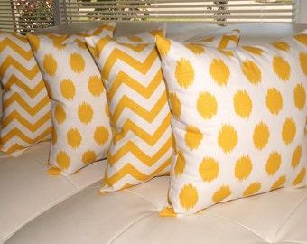 Premier Prints Jojo and Zig Zag Chevron Corn Yellow  Double Sided Decorative Throw Pillows - 4 Pack Free Shipping