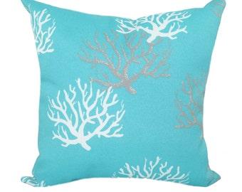 Outdoor Nautical Pillow, Coral Aqua White Throw Pillow, STUFFED Pillow, Isadella Ocean Patio Pillows, Beach Decor, Aqua Pillow - Free Ship