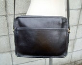 Black Coach Purse Vintage 1980s Leather Handbag NYC New York City