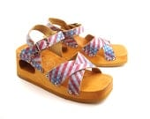 Vintage 1990s Sandals Dr Scholl's Holograph American Flag High Heel Wedge Wooden women's size 6