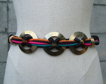 Belt Vintage 1980s Stretch Wide Cinch Black Green Orange Magenta Brass Stretchy Elastic
