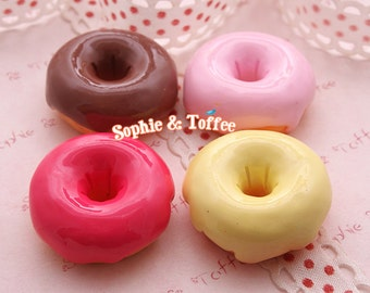 Kawaii Sweets Decoden Cabochons Big Fudge Donuts  (4pcs) CAS403