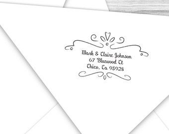 Custom address stamp with swirly border--136TS
