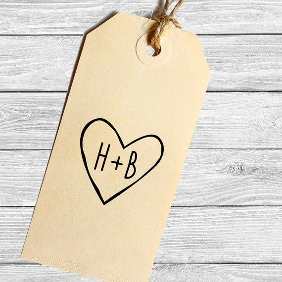 Custom rustic heart with initials stamp--147TS
