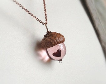 Glass Acorn Necklace: Mini Pink Peter Pan Kiss with Heart by Bullseyebeads