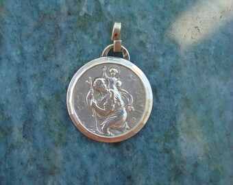 Antique French Vintage Sterling Silver Catholic Religious Saint Christopher and Child Jesus Medal Pendant