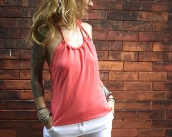 Eco Coral Pink Bamboo Halter Top~Open Back Shirt~Layering Top~Camisole~Blouse~Yoga Shirt~Summer Clothing~Sleeveless Shirt~Maternity Shirt