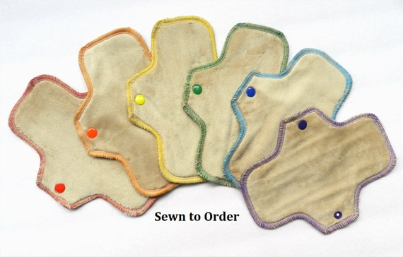 Set of 6 Neutral Rainbow Minky Pantyliners