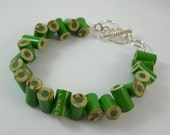 Colored Pencil, Beaded Bracelet, Jewelry, Charm Bracelet, Upcycled, Gift, Recycled, Friendship Bracelet, Green