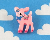 Kawaii Brooch Pin - Baby Deer Pink