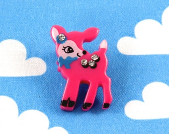 Kawaii Brooch Pin - Baby Fawn Fuschia