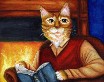 Literary Cat Art, Orange Cat Reading Book by Fireplace 5x7 Art Print