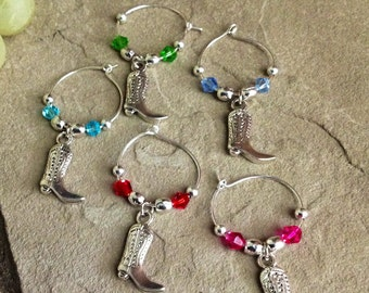 Cowboy/Cowgirl Boots Wine Glass Charms - Set of 5