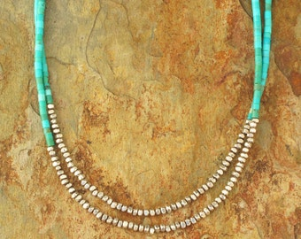 Turquoise Heishi Thai Hill Tribe Silver Necklace - Double Strand