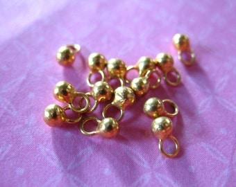 10 pcs. Gold Ball Drops Dangles Earring Necklace Pendants Charms, 24k Gold Vermeil, 5x2 mm, wholesale sale artisan vsb103