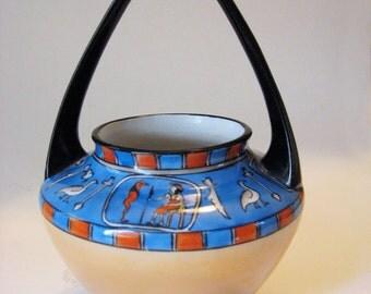 Striking Deco Egyptian Revival Noritake China Lusterware Basket