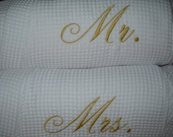 Mr. Mrs. His, Hers or  Bride, Groom  Robes 2  Waffle Weave Robes Honeymoon Gift Embroidered Wedding Gift