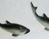 Vintage Shark Fish Ocean Salt and Pepper Shakers Sea Figurines
