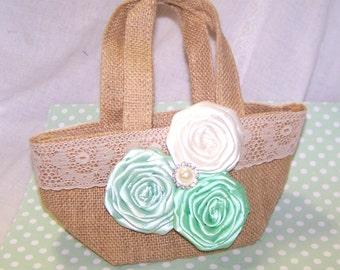 Flower Girl Basket - Burlap Flower Girl Basket - Mint Green and Ivory, Custom Colors available