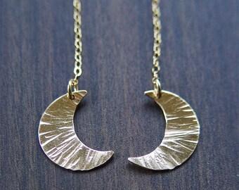 SALE Crescent MoGold Earrings