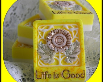 LIFE IS GOOD Soap - Lemon Verbena Scented - Sparkly - Mica - Inspirational Art Soap - Phthalate Free - Hand Made Soap - Glycerin Soap -