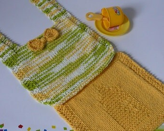 Hand Knit  Baby Bib and Wash Cloth Set in Green Yellow and White          READY TO SHIP           One Size