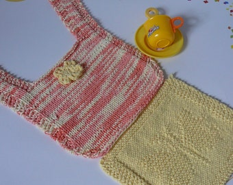 Hand Knit  Baby Bib and Wash Cloth Set in Peach and Yellow          READY TO SHIP           One Size