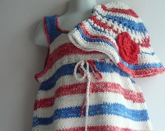 Knit Patriotic Sun Dress & Hat/Toddler Girls/Cotton/Red/Blue/White              READY TO SHIP        Size 12 to 24 mos