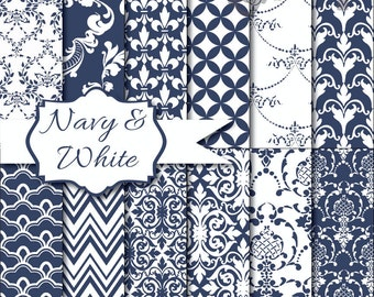 Instant Download - Navy & White: 12 Digital Papers Pack