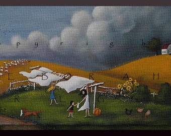 Storm Coming!  a small  Autumn Laundry Line Sheep Barn Print by Deborah Gregg