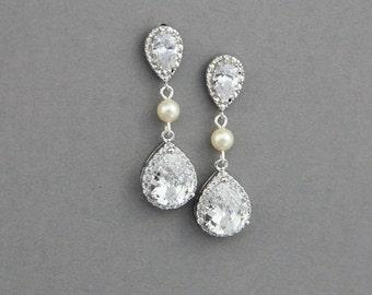 Wedding Earrings, Crystal Wedding Earrings, Pearl Bridal Earrings ,Crystal Wedding Earrings ,Crystals and Pearls Bridal Bridesmaid Earrings