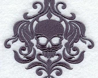 Skull Halloween Damask Embroidered Flour Sack  Towel / Hand Towel / Bath Towel  / Apron