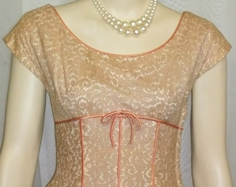 Vintage 1940's Lace Overlay Cocktail Dress Beige Nude Small Noisy
