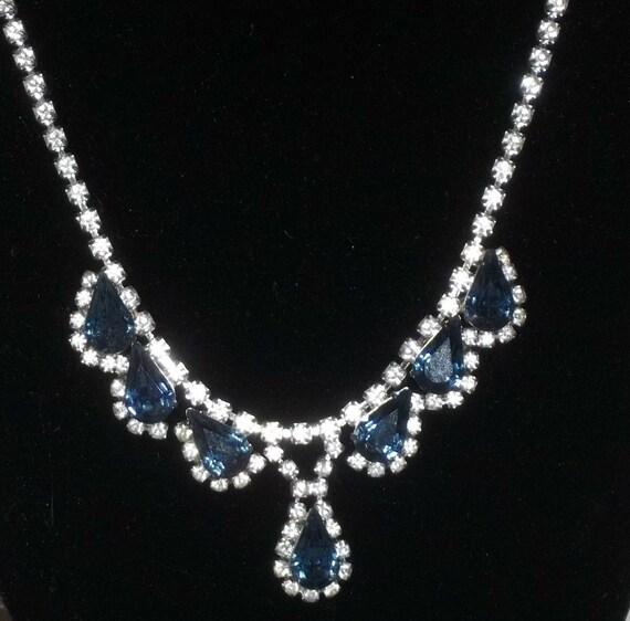 Vintage House of Nikolas Demi Parure Rhinestone Necklace Clip On Earrings Set