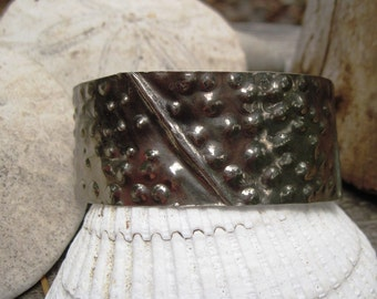 Tribal German silver fold form forged textured organic cuff bracelet