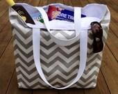 Beach Bag, Gray Chevron, Large Beach Tote, Summer Bag, Weekend Travel Bag, Teacher Tote