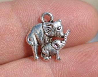 1 Silver  Mother and Baby Elephant Charm SC1455