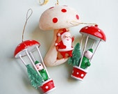 Set of Three Vintage Santa and Mushroom Christmas Ornaments Plastic and Wood