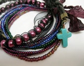 Bracelets Friendship bracelets on stretchy cord, 7 individual bracelets using small seed beads, purplish/blues, fun, casual, stackables