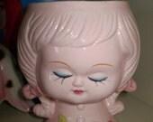 ADORABLE Vintage PINK Lady Head Vase