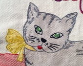 Sex Kitten, Girlfriend Gift, Modern Tapestry, Hand Embroidered, Original Art, Free US Shipping