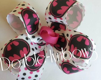 Hot pink Super Girl hairbow Printed Ribbon  By Double-lynbows