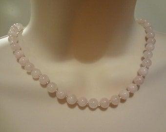 Rose Quartz Necklace Pink necklace Pink Stone Necklace Pink Quartz Necklace, FN014