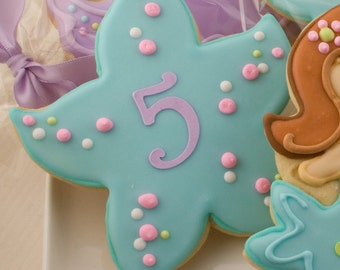 Monogrammed Starfish Cookies - 12 Decorated Sugar Cookie Favors