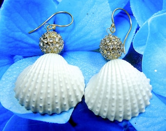 Seashell Pave Earrings - Mermaids Pave Crystal