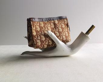 Vintage 70s Christian Dior Logo Canvas Makeup Bag - ZIp iPhone Case - Cosmetic Pouch - DIOR logo w/ Falcon Metal Zipper