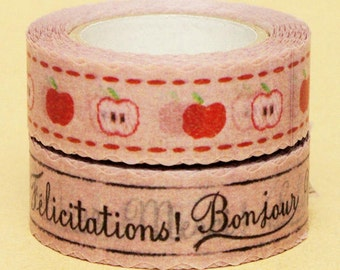 NamiNami Washi Masking Tape - French Linen & Apple