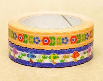 NamiNami Washi Masking Tape - Bavarian Flower & Mushroom - Slim