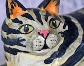 little striped wooden cat...   from an estate sale...  home decor...  wooden cat from Indonesea...  T2 L