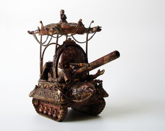 Baby Bang Tank Surrealistic Steam Punk Sculpture-One of a Kind.